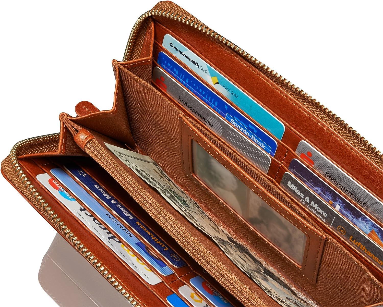 /Él/égant Porte-Monnaie avec RFID-Blocage Bourse Sac A Main avec Fermeture Eclair en Marron-Cognac KAVAJ Portefeuille Femme Vienna en V/éritable Cuir de Vachette