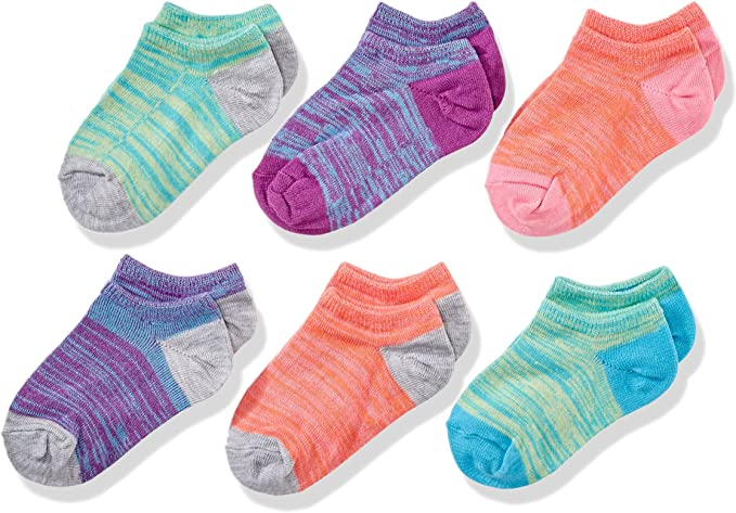Small purple//pink//blue//gray//orange//yellow Shoe Size: 6-10.5 Fruit of the Loom Girls Little Show Socks-6 Pack