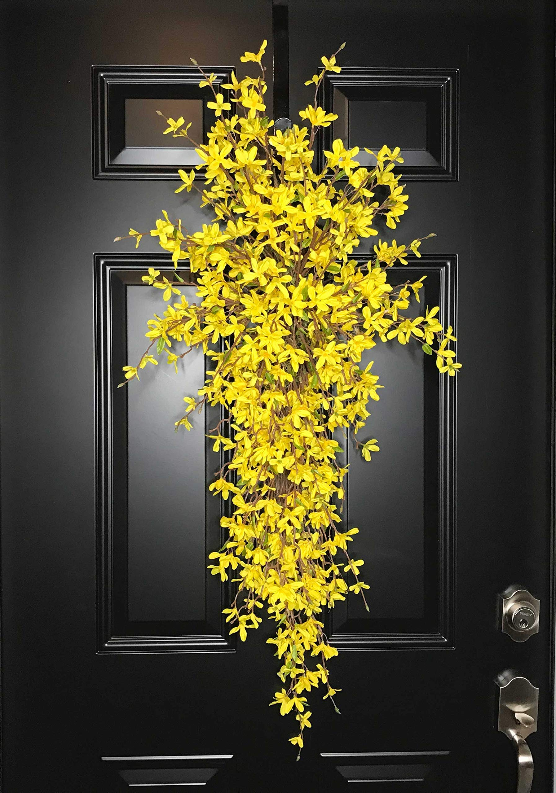 Extra Large Forsythia Floral Teardrop Swag Wreath for Front Door Porch Indoor Wall Farmhouse Decor Spring Springtime Summer Summertime Mother's Day Easter, Handmade, Yellow, 3 Sizes-42'', 36'', 30'' L by Wreath and Vine, LLC (Image #7)