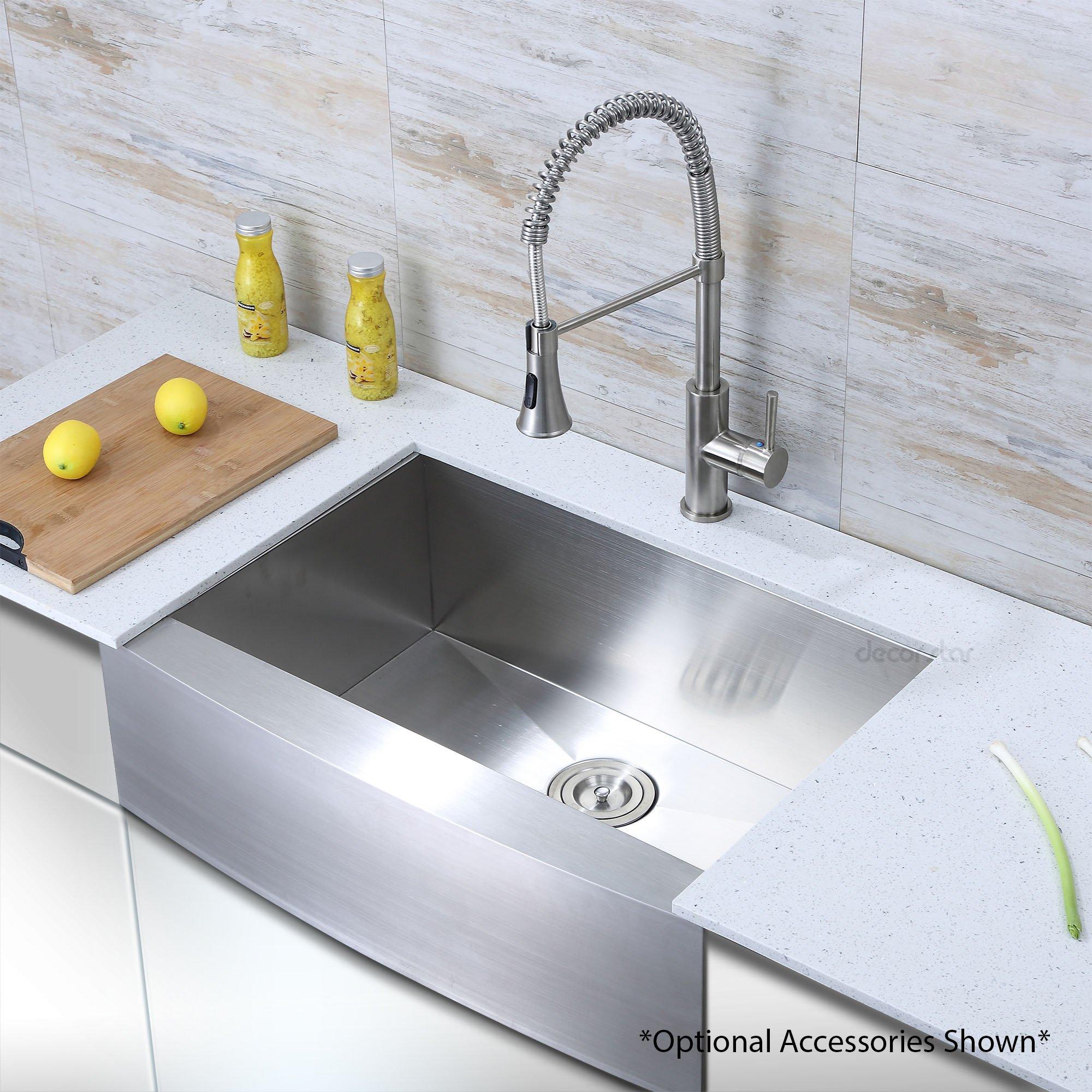 Decor Star F-001-Z 30 Inch x 21 Inch Farmhouse Apron Single Bowl 16 Gauge Stainless Steel Luxury Handmade Kitchen Sink cUPC Zero Radius