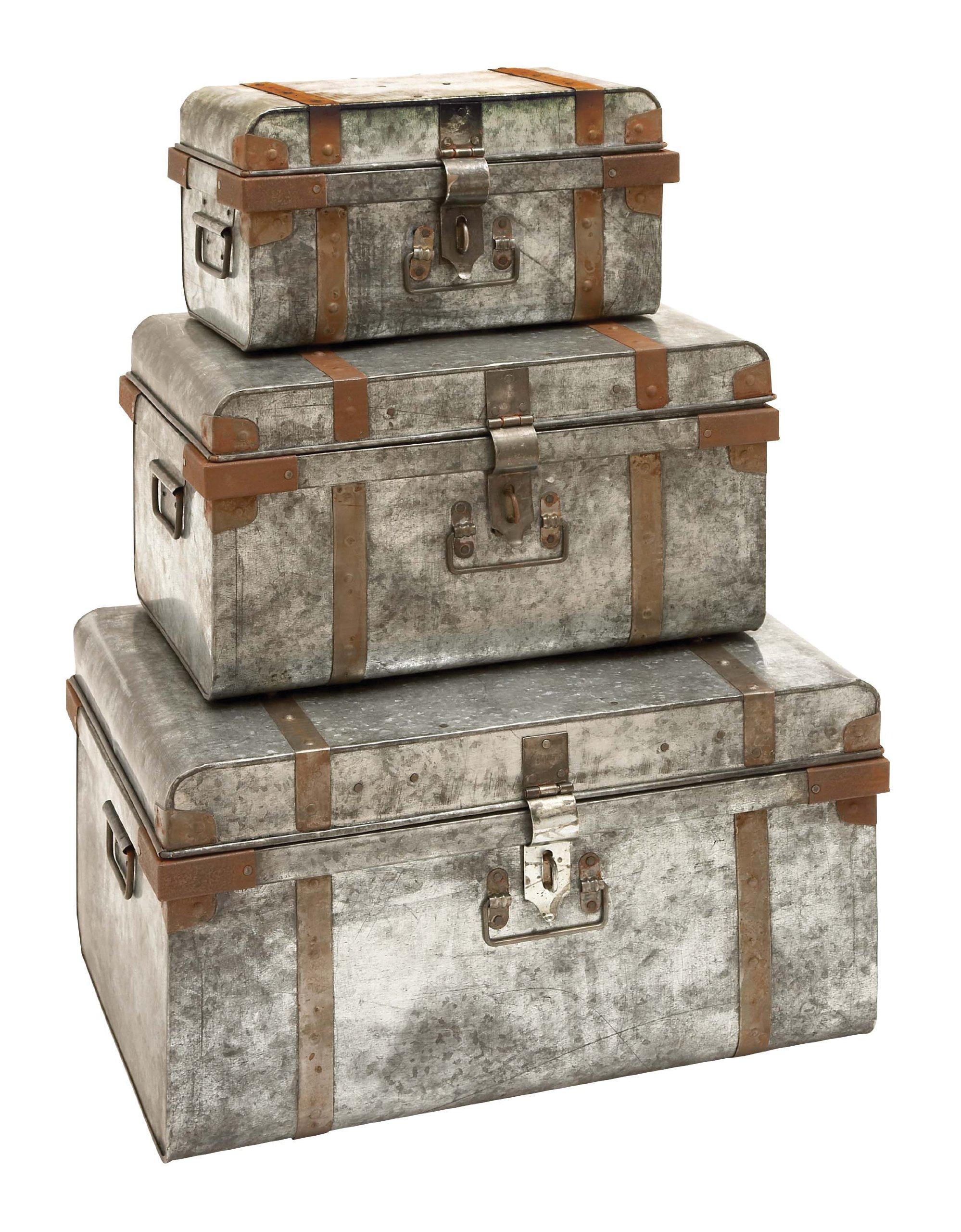 Deco 79 38180 Metal Galvan Trunks (Set of 3), 23''/19''/15''