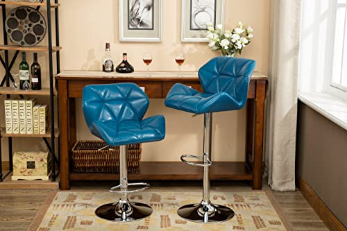Roundhill Furniture Glasgow Contemporary Tufted Adjustable Height Hydraulic Blue Bar Stools, Set of 2,