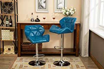 Sensational Roundhill Furniture Glasgow Contemporary Tufted Adjustable Height Hydraulic Blue Bar Stools Set Of 2 Andrewgaddart Wooden Chair Designs For Living Room Andrewgaddartcom