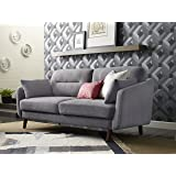 "Elle Decor 73"" Mid-Century Modern Chloe Sofa in Dark Gray"