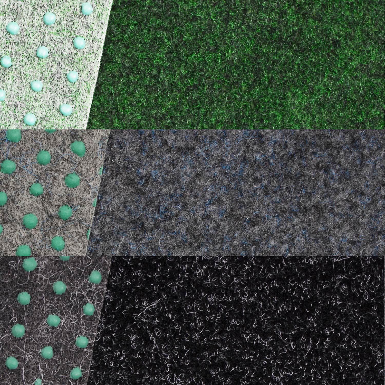 Kunstrasen Fertigrasen in 3 Farbig mit Drainagenoppen Grau 360 cm x 200 cm, Grijs 901