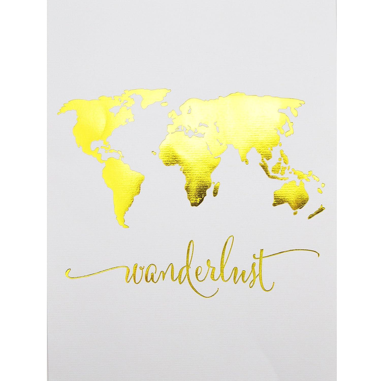 Amazon.com: Wanderlust World Map Gold Foil Art Print Travel World ...