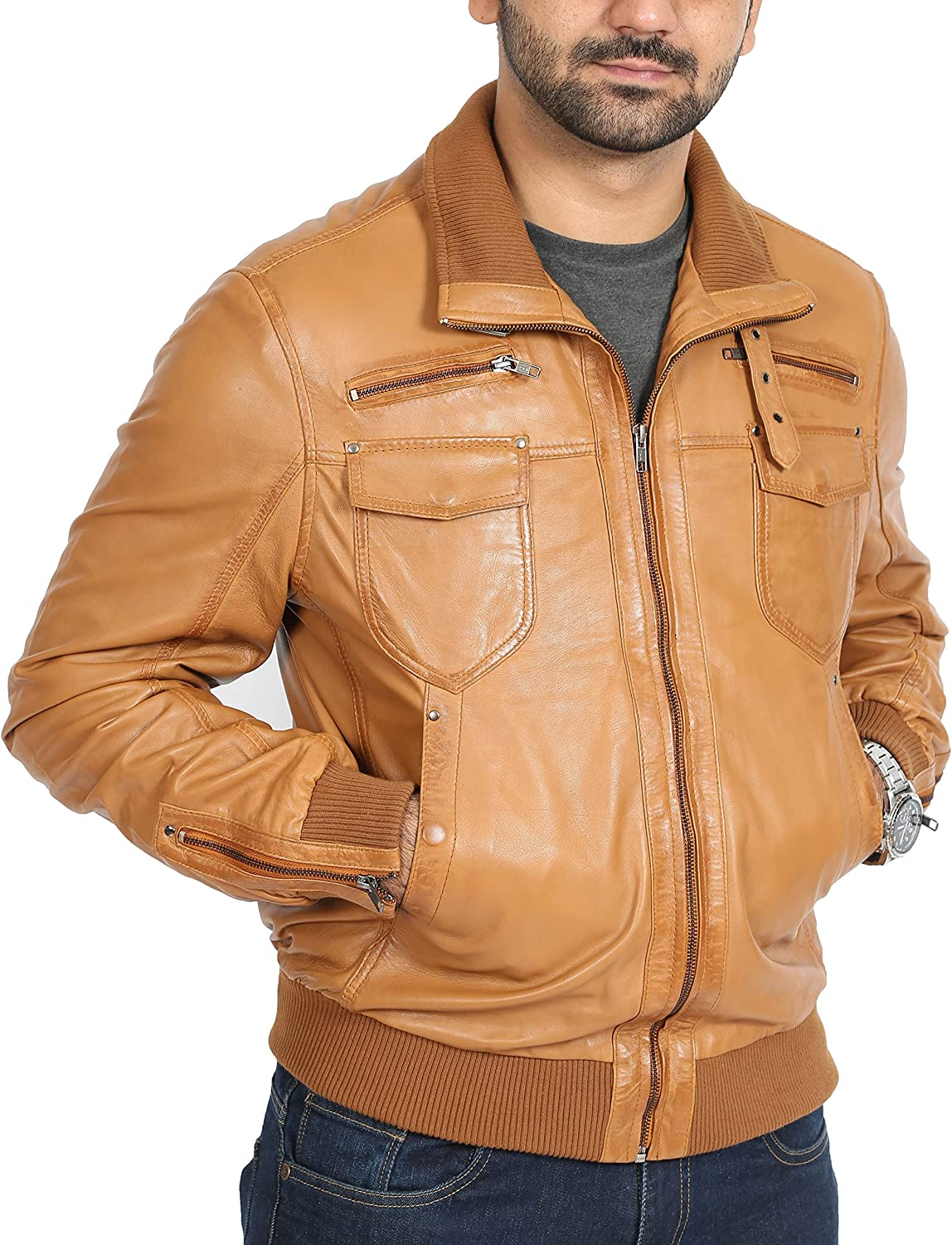 Mens Fitted Bomber Style Leather Jacket High Fashion Blouson Joe Tan