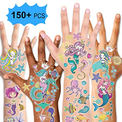 Mermaid Party Supplies Temporary Tattoos for Kids(150pcs+),Konsait Fake Mermaid Tattoos for Children Girls Birthday Party Favors Supplies Great Kids Party Accessories Goodie Bag Stuffers Party Fillers: Beauty