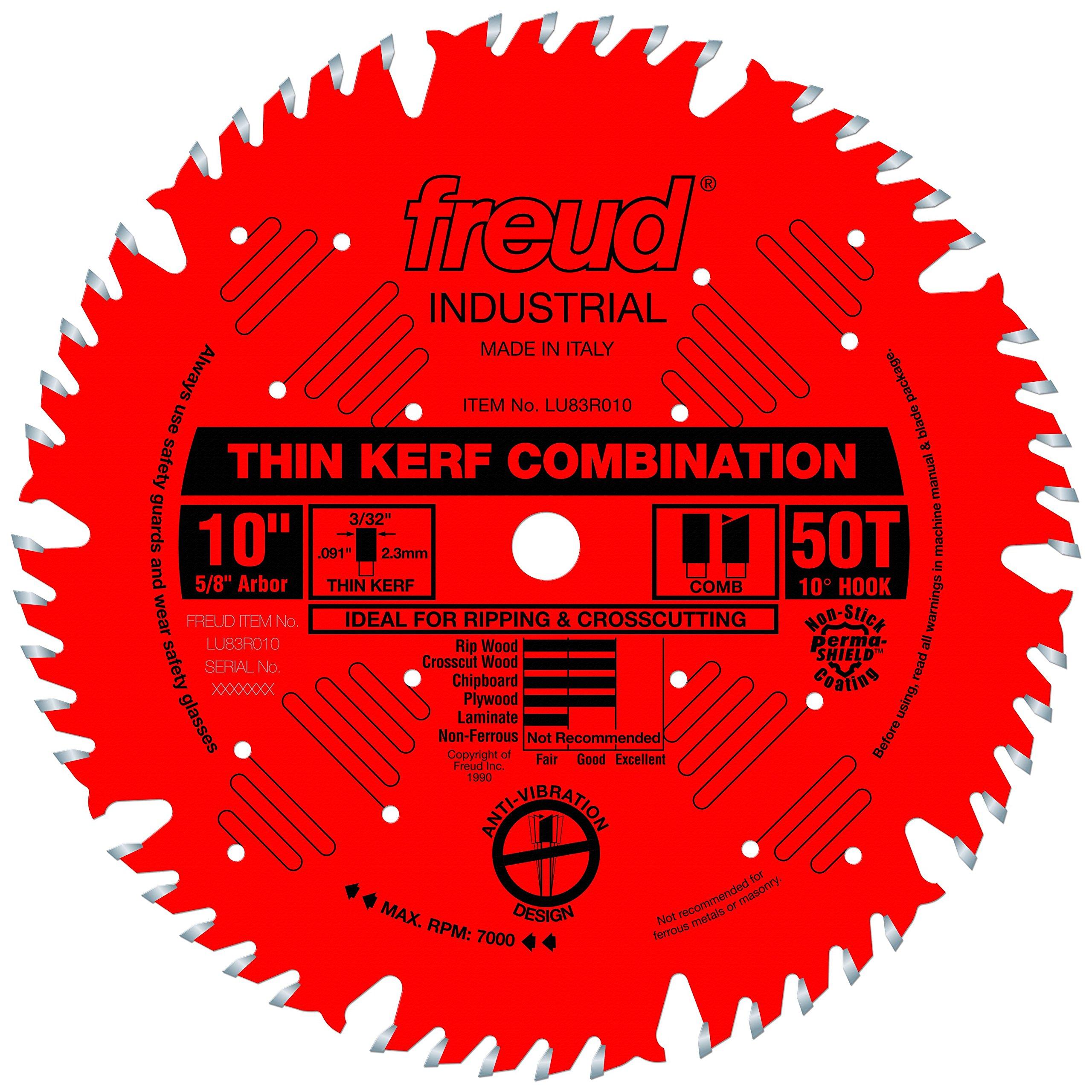 Freud 10'' x 50T Thin Kerf Combination Blade (LU83R010) by Freud
