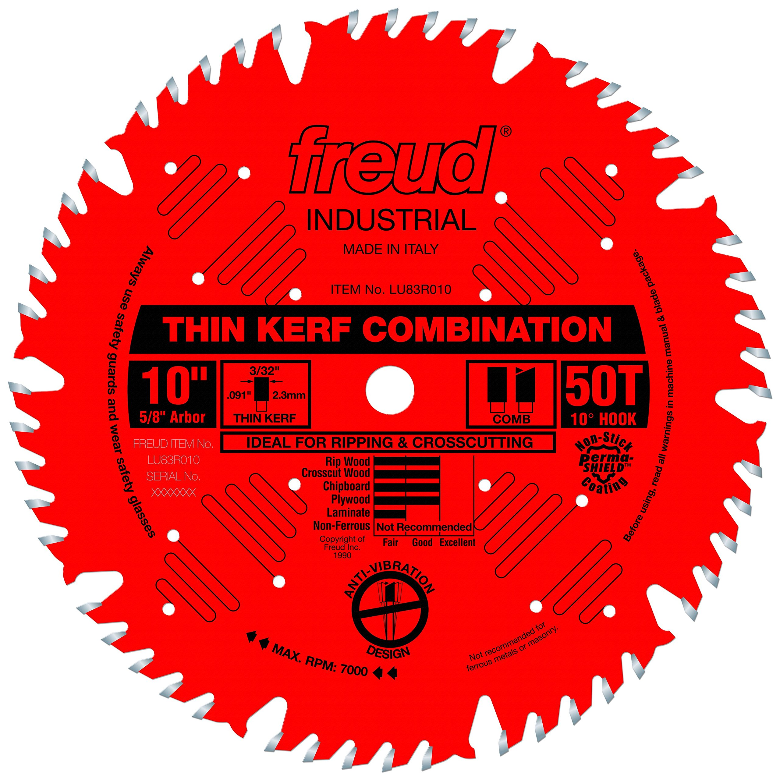Freud 10'' x 50T Thin Kerf Combination Blade (LU83R010)