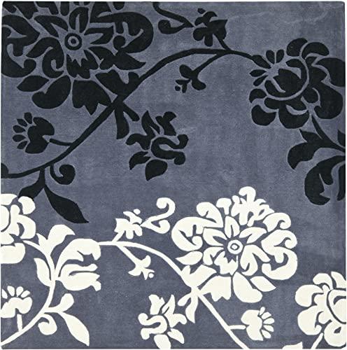Safavieh Modern Art Collection MDA623A Handmade Elegant Contemporary Floral Dark Grey and Multi Polyester Square Area Rug 7 Square