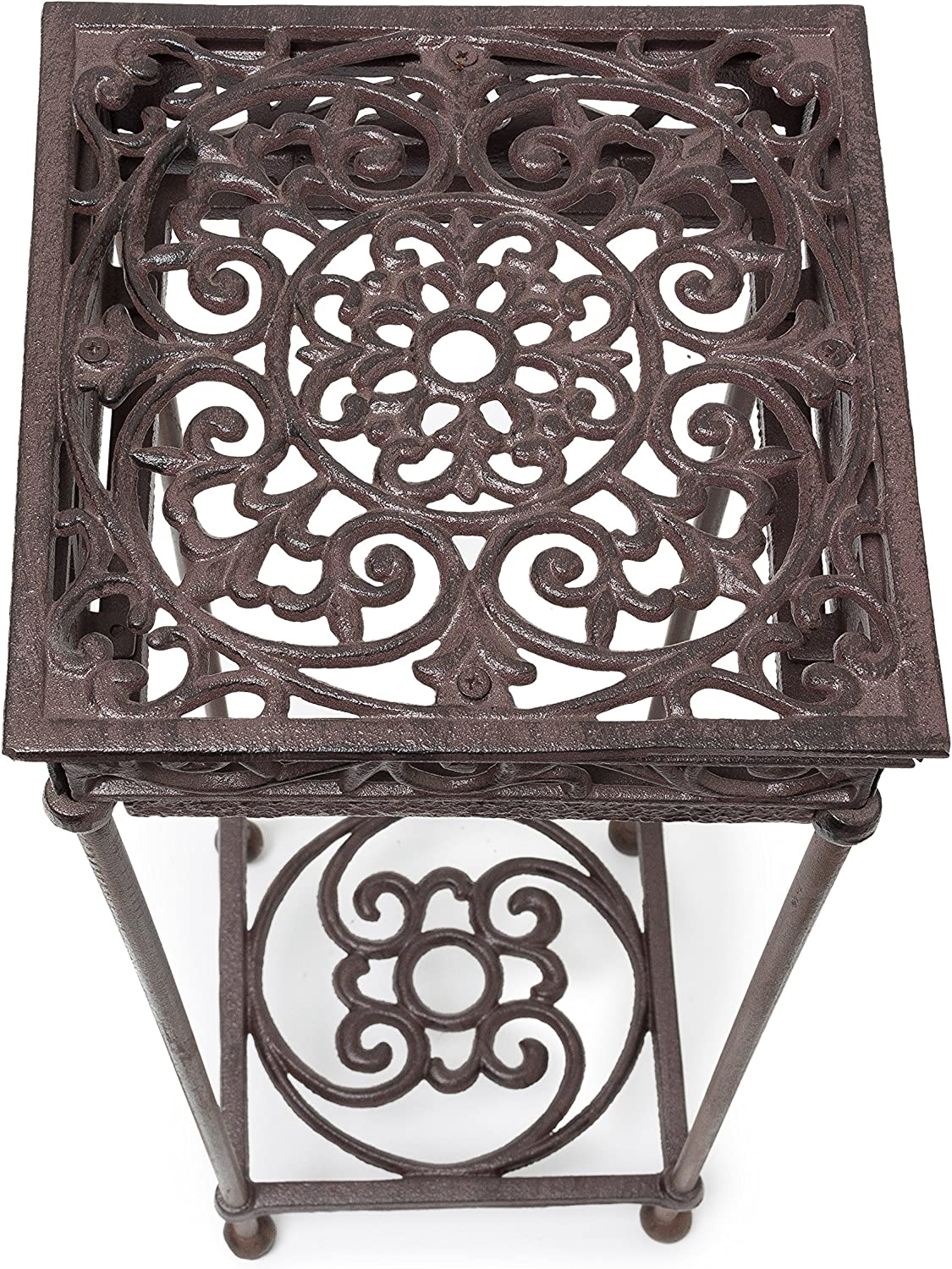 Flower Stand with 2 Shelves for Plants and Decor in the House or Garden Bronze Relaxdays Flower Stand Size M 50.5 x 24 x 24 cm Square Flower Holder made of Cast Iron