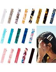 R HORSE 19 Packs Acrylic Resin Hair Clips Set Duckbill Hairpins Natural Texture Bobby Hair Accessories Geometric Alligator Leopard Pattern Vintage Barrettes for Women(18 Duckbill Clips+1 Velvet Pouch)