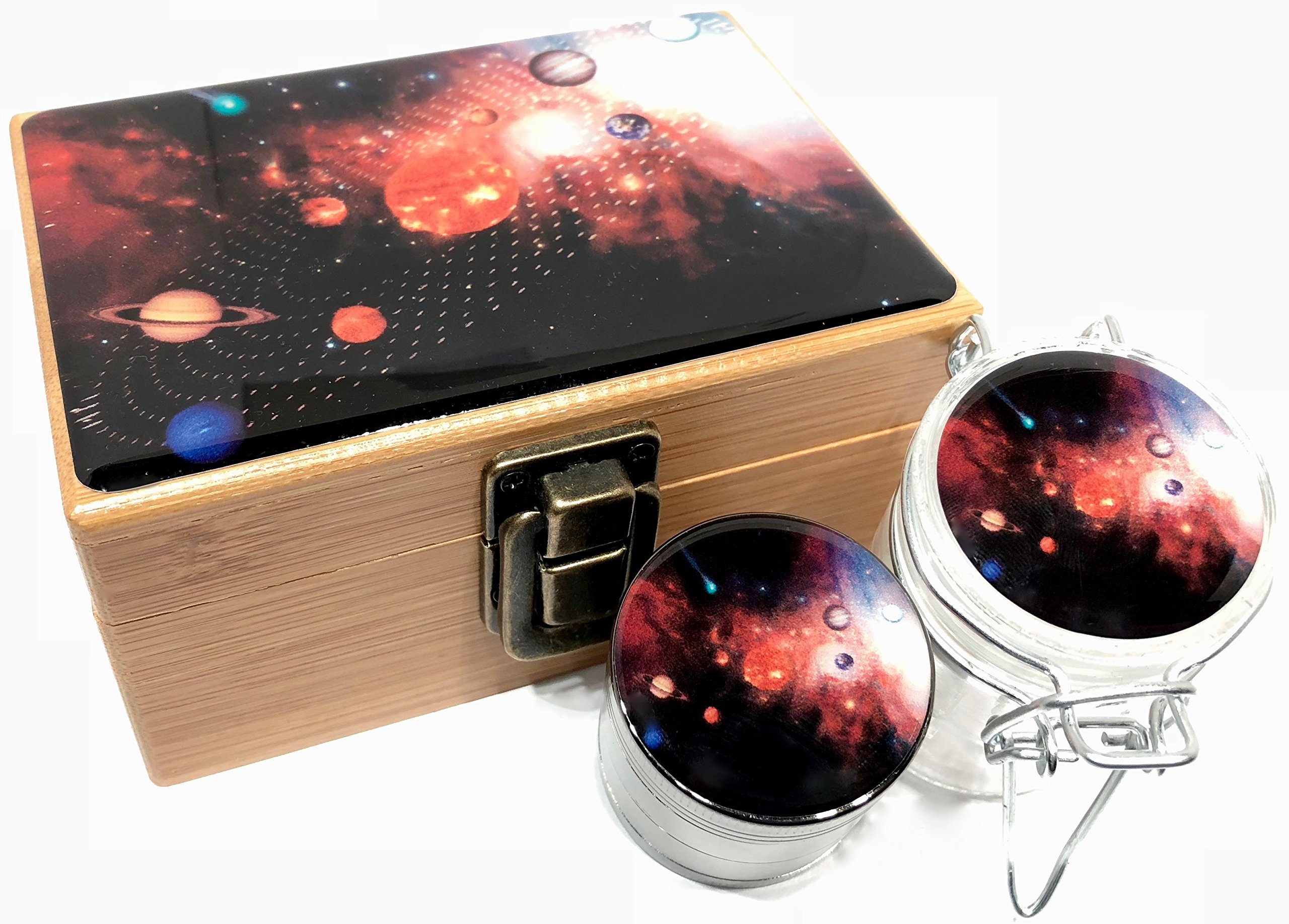 Solar System Stash Box Combo - Small 4 Part Grinder 2.0'' w/ Glass stash jar smell proof (Space)