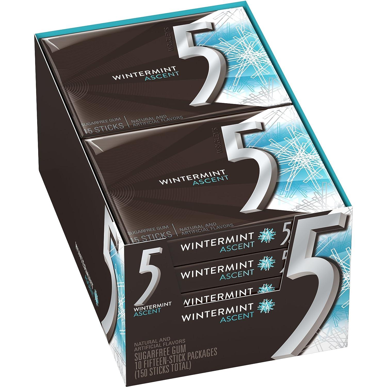 5 Gum Wintermint Ascent Sugarfree Gum, 15 Pieces (10 Packs)