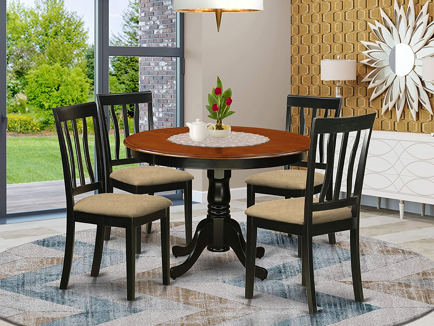 East West Furniture HLAN5-BCH-C 5-Piece Dining Table Set - A Modern Round Dining Table and 4 Dining Chairs - Linen Fabric Modern Kitchen Chairs Seat & Slatted Back - Black Finish