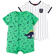 Carter's Baby Boys' 2-Pack Snap Up Romper, Dino/MVP, 6 Months