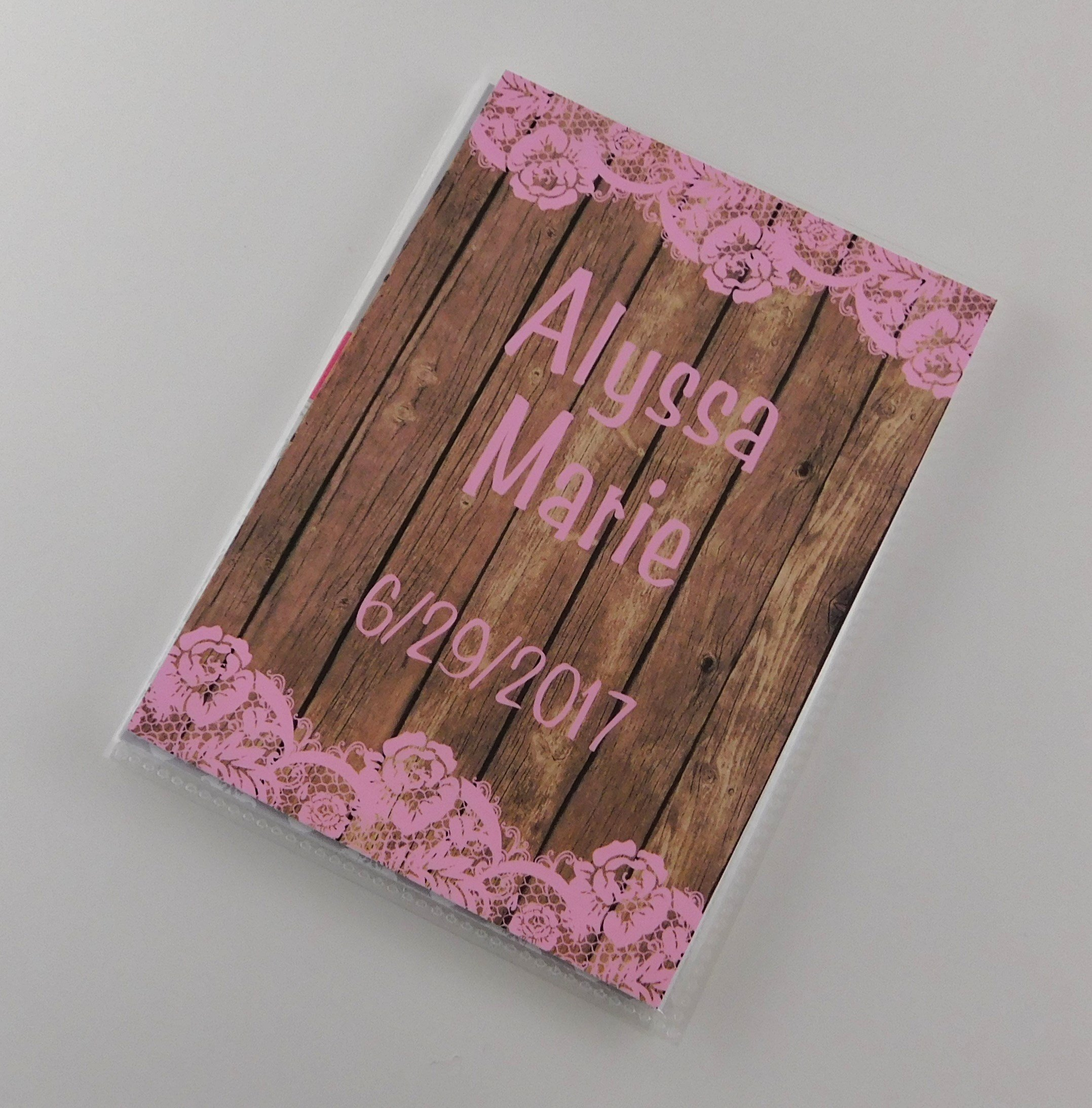 Photo Album Gift IA#833 PRINTED wood and lace NOT REAL Grandma's Brag Book 4x6 or 5x7 Pictures Newborn Shower Baby Girl Gift