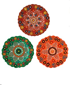 "Ayennur Turkish Decorative Plates Set of 3-7.08"" Handmade Ceramic for Wall Hanging Home Decor"