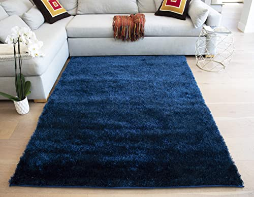 LA Rug Linens Area Rug Carpet Rug Made in USA Shag Shaggy 5 x 7 Feet Non Slip Padded Large Size for Living Room Bedroom Dining Room Navy Blue Dark Blue Color Solid Plush Pile Decorative Designer