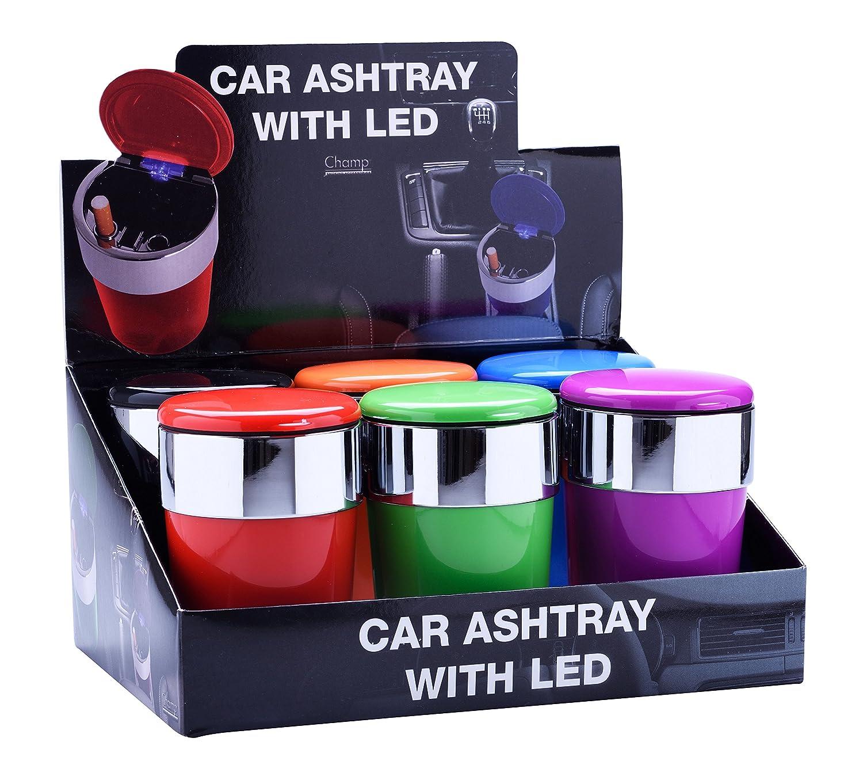 AUTO ASCHENBECHER mit Deckel LED Licht Autoaschenbecher Windaschenbech KFZ 57 Blau