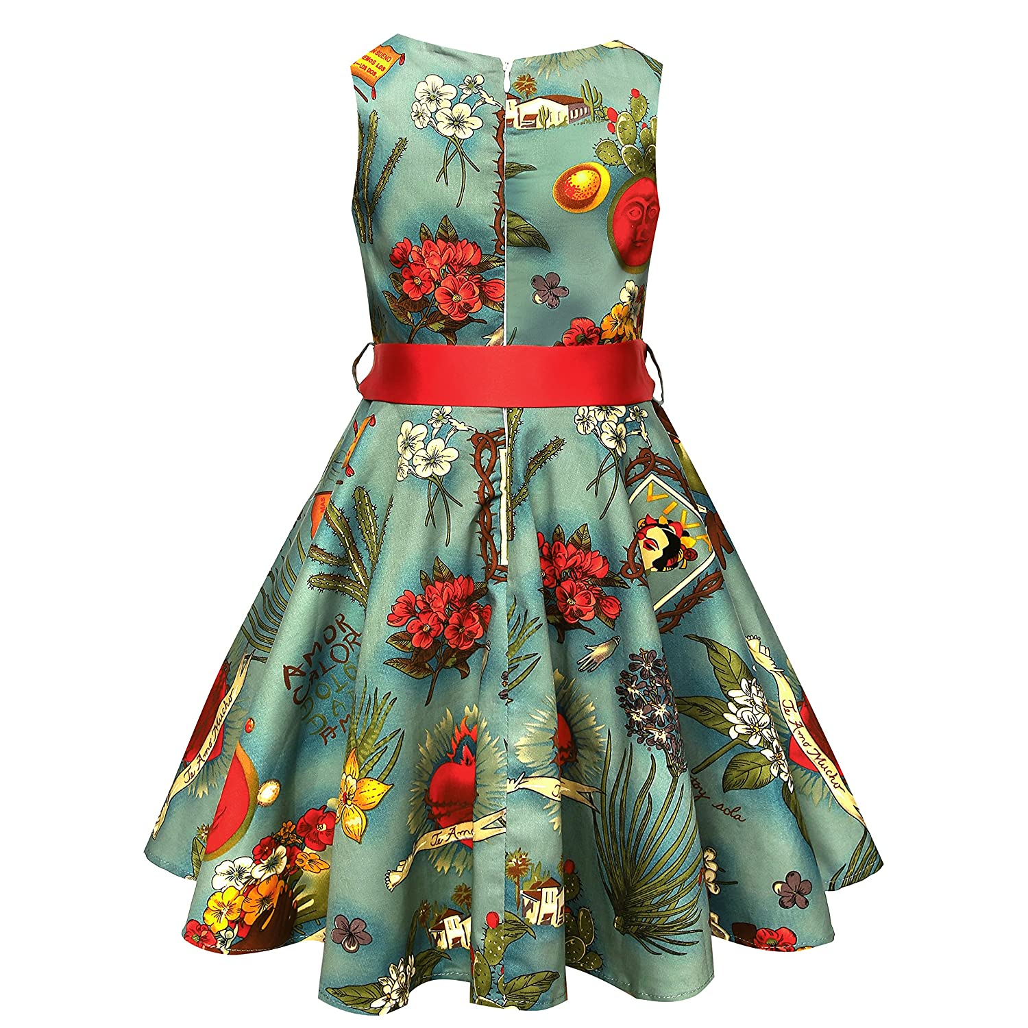 11a115d3bc2 Amazon.com  50s Vintage Swing Girls Dresses for Casual Party Audrey Hepburn  Retro Dresses for Girls  Clothing