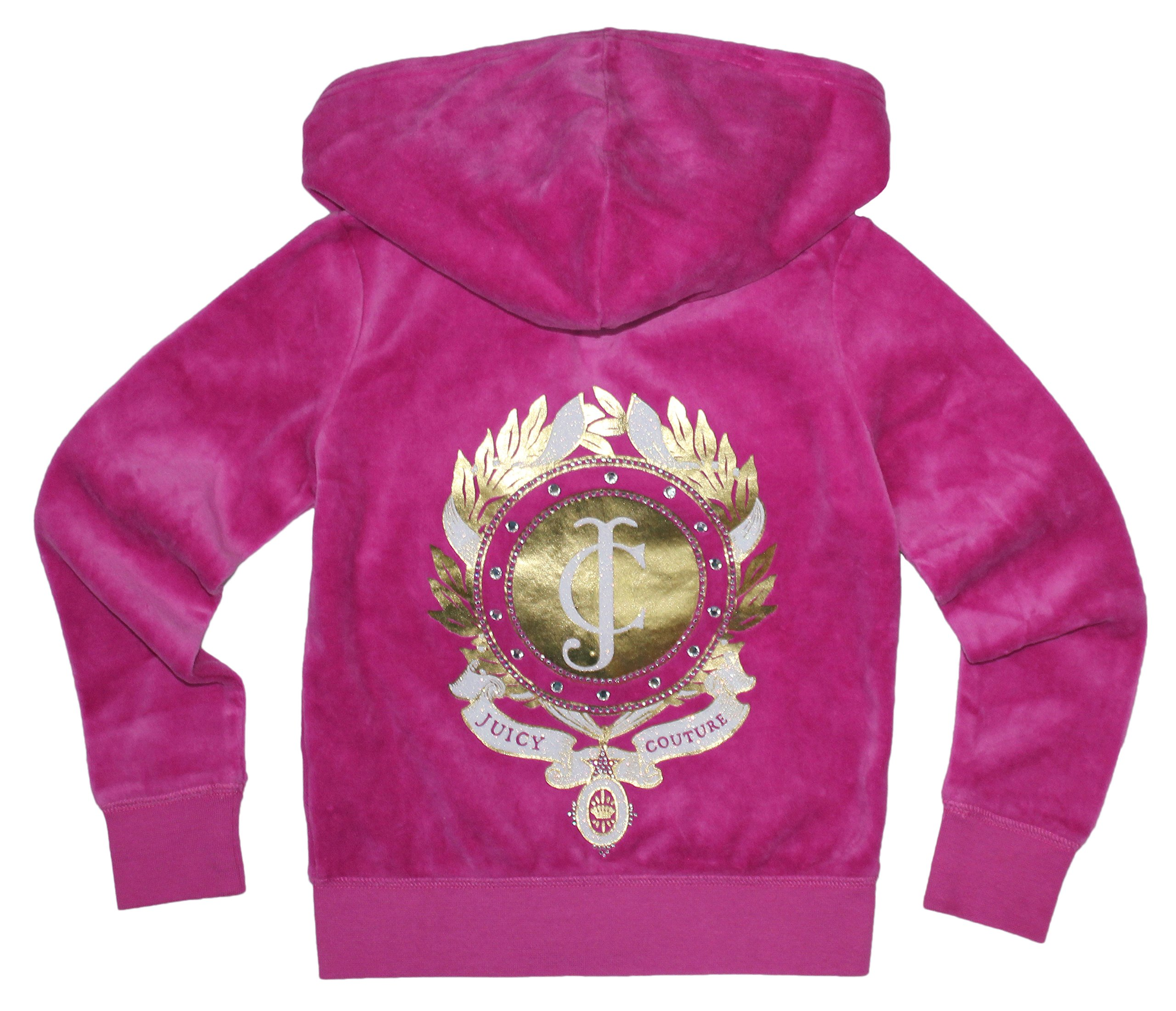 Juicy Couture Girls ''JC'' Monogram T-shirt or Velour Hoodie (Small 4-5, Pink Hoodie) by Juicy Couture
