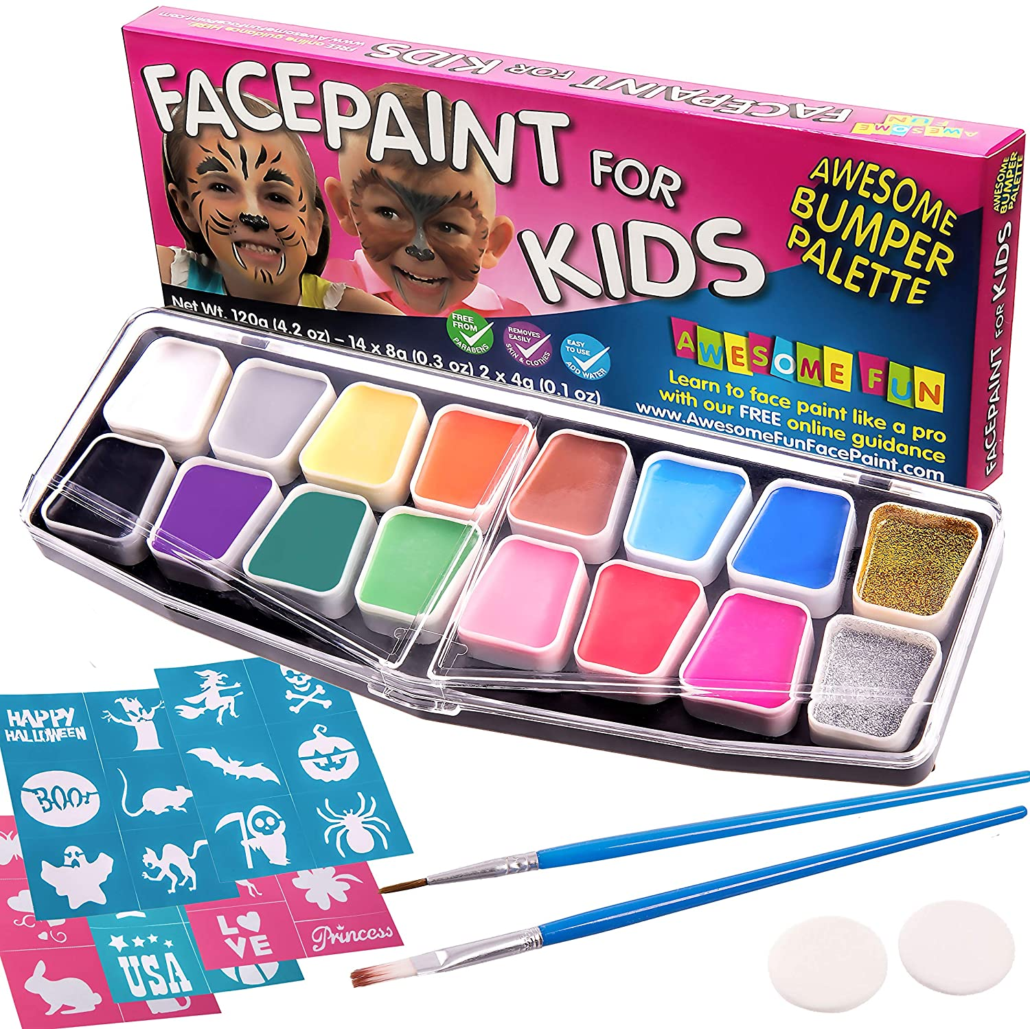 Halloween Face Paint Kit Large | Face Painting Party Set with 32 Stencils, 2 Brushes, 2 Sponges 14 Colors, 2 Glitters & Make-Up Case. Bumper 16-Pack Gift for Kids Free eBook Safe Non-Toxic Water-Based Thrive Enterprises