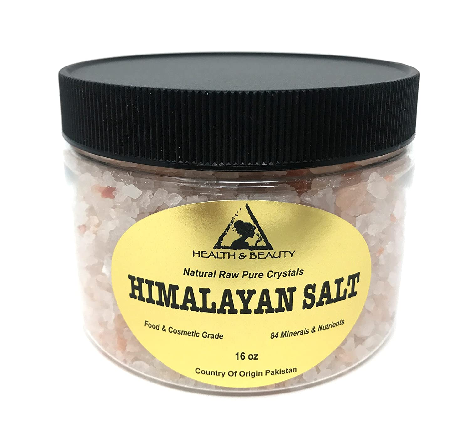 Himalayan Salt Organic Pink Crystals Coarse/Medium Grain Unrefined Food Grade Sea Salt Premium Prime 100% Pure 16 oz, 1 LB, 454 g H&B OILS CENTER Co.