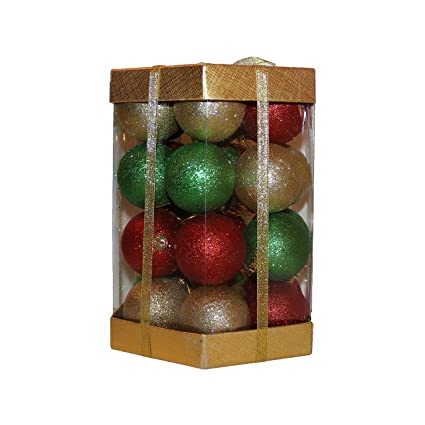 28 count glitter christmas ball ornaments boxed set red green gold glitter mix
