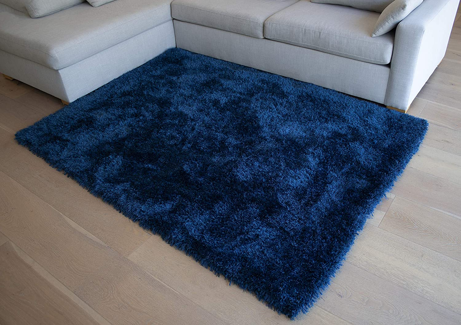 Navy Blue Dark Blue Color Area Rug Carpet Rug 8 X10 Feet Solo Color Shag Shaggy Collection Solid Plush Indoor Bedroom Living Room Modern Contemporary Decorative Designer Hand Woven Kitchen Dining