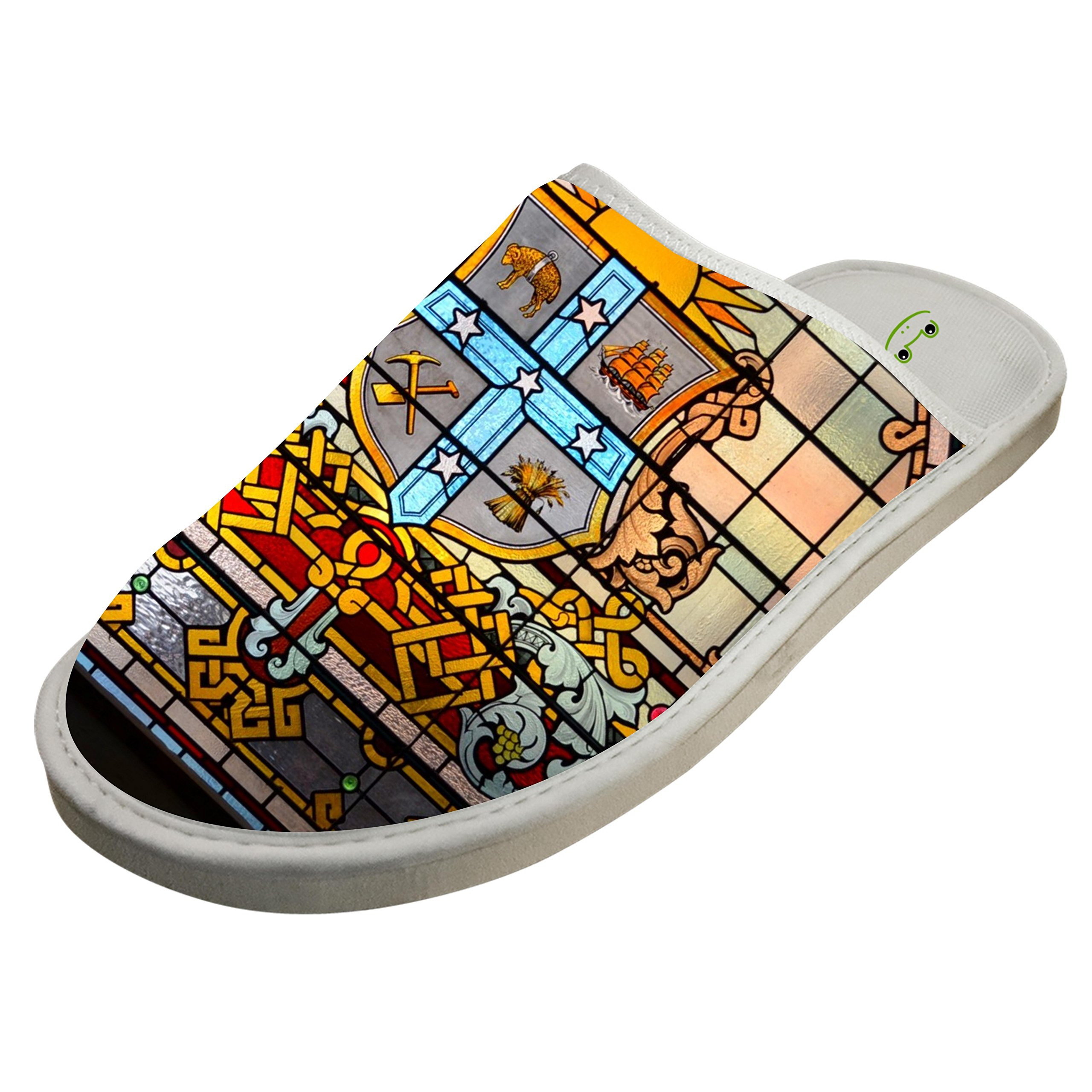 Slippers with Awesome Stained Glass Window 3D Print Indoor Sandals Soft Shoes Flat Winter Sleeppers 9 B(M) US