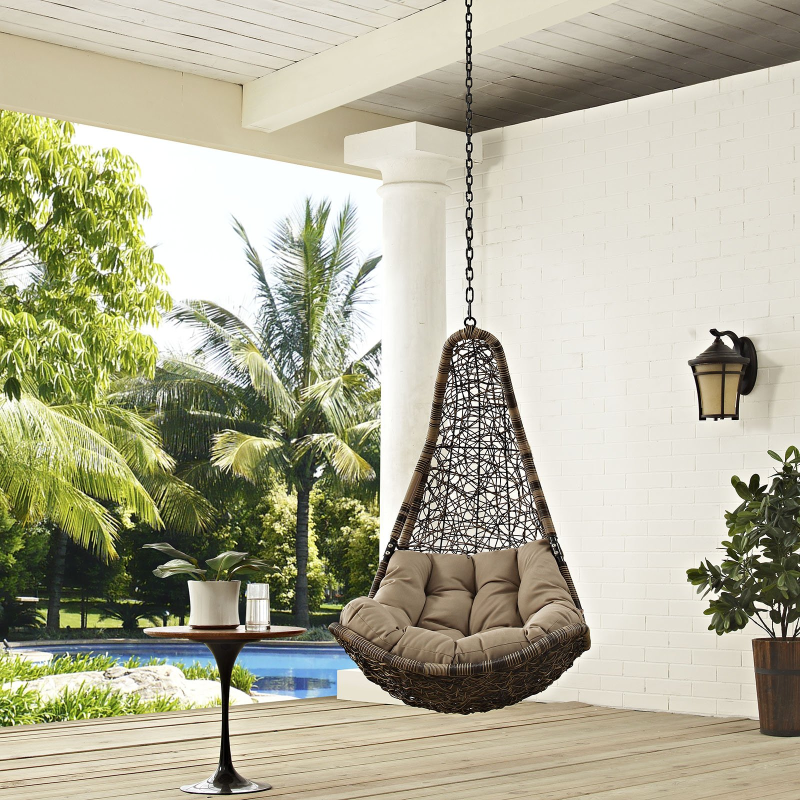 Modway EEI-2657-BLK-MOC-SET Abate Wicker Rattan Outdoor Patio Balcony Porch Lounge Swing Chair Set with Hanging Steel Chain Black Mocha by Modway