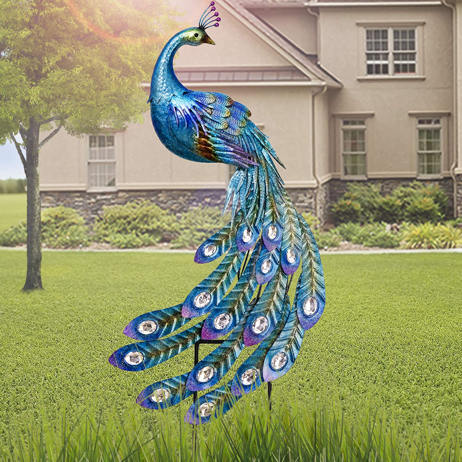 TERESAS COLLECTIONS 47 inch Metal Peacock Decor for Garden Wall Art Indoor Outdoor Decoration Dual Use Peacock Stake Statues for Patio Yard Lawn Christmas Home Decor