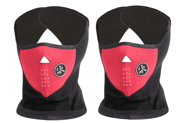 ETCBUYS Neoprene Indoor/Outdoor Ski Mask-Color Options, 2 Piece Set, Black C-50