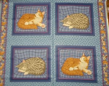 Jengibre y gris paneles de gatos cojín algodón tela - 4 paneles: Amazon.es: Hogar