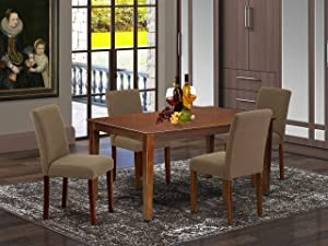 """East West Furniture CAAB5-MAH-18 5Pc Rectangle 60"""" Dining Room Table And 4 Parson Chair With Mahogany Leg And Linen Fabric Coffee, 5"""