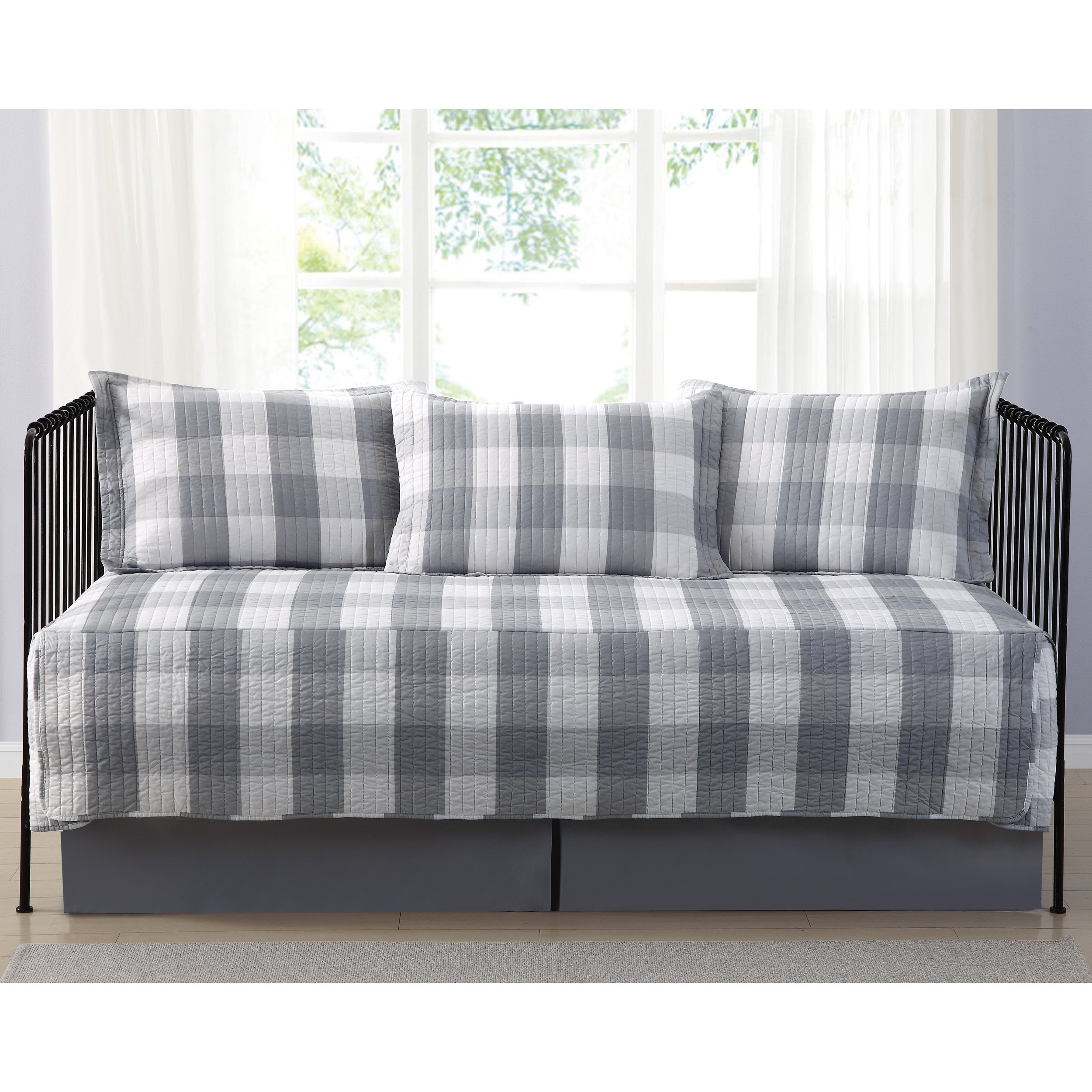 Truly Soft Everyday Buffalo Check Grey Printed 5 Piece Day Bed Set, Bedskirt Included by Truly Soft Everyday