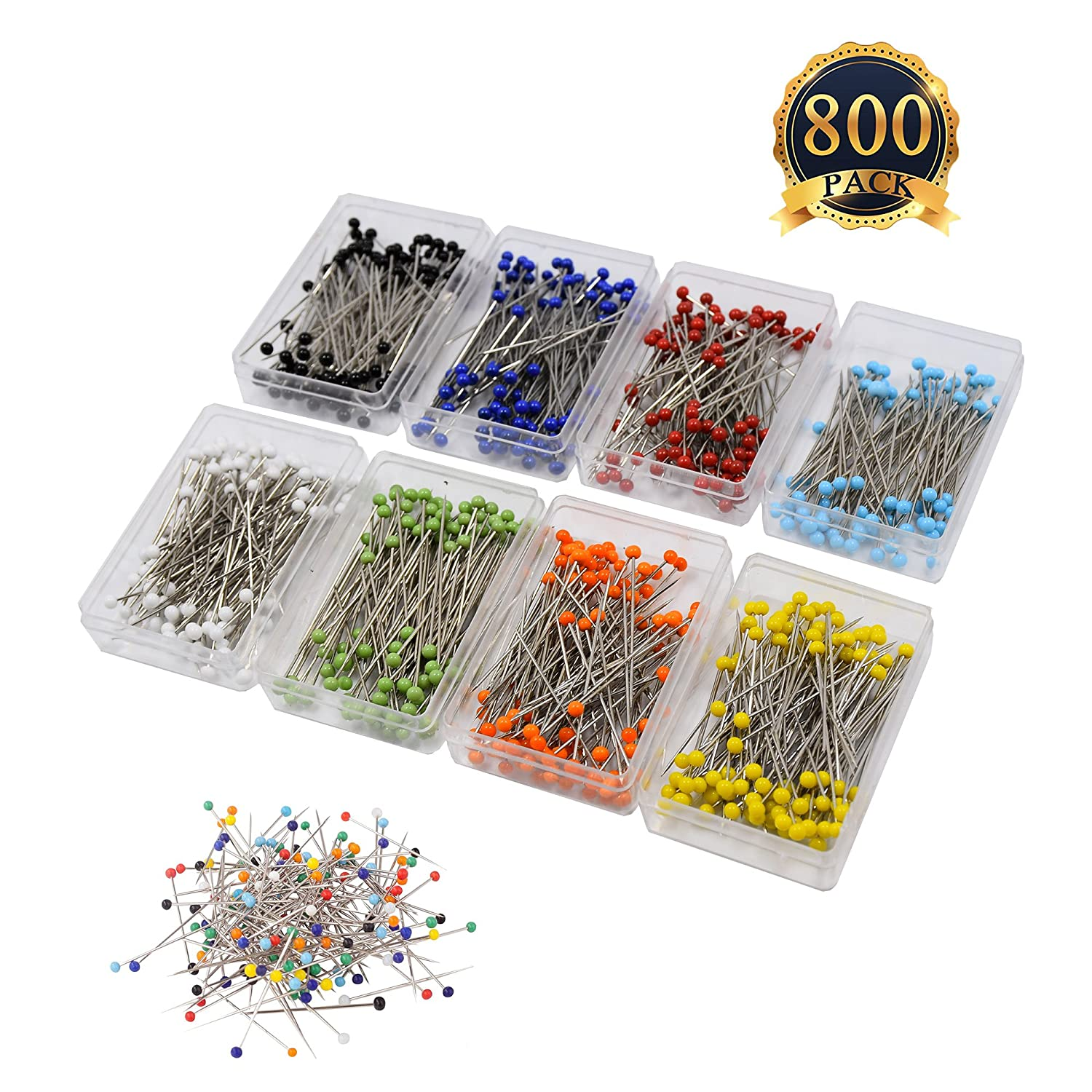800 Pieces Sewing Pins 38mm multicolor Glass Ball Head Pins for Dressmaking Jewelry Components Flower Decoration With Transparent Cases, 8 Colors COMEMAKA