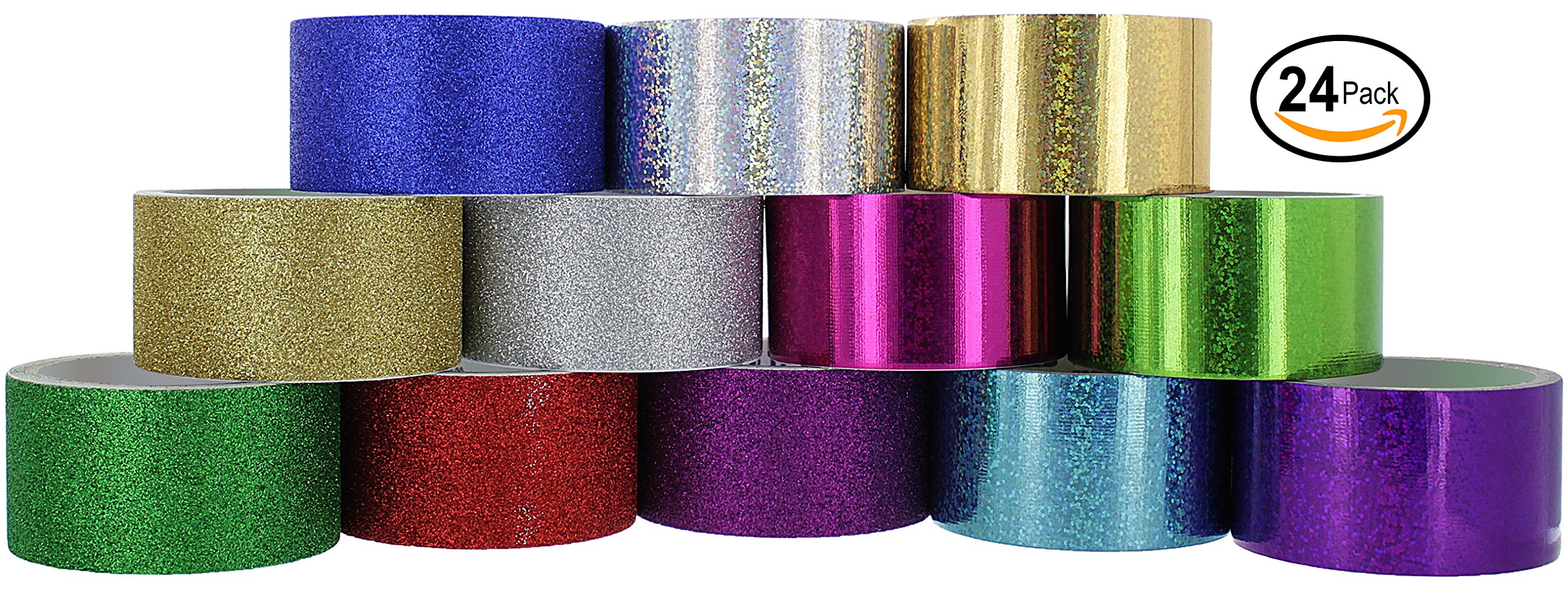RamPro Glitter & Holographic Styles Heavy-Duty Duct Tape | Assorted Colors Pack of 24 Rolls.