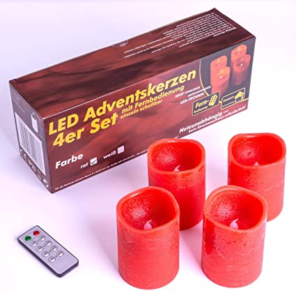 Nipach GmbH 4 LED Echt Wachs Kerzen rot mit Flackereffekt Batterie Fernbedienung Weihnachtsdeko Weihnachtskerzen Wachskerzen Adventskerzen Stimmungslicht Xmas