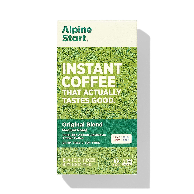 Alpine Start Premium Instant Coffee, 8 Single Packets, Original Blend, Medium Roast, 100% High Altitude Colombian Arabica Coffee, 0.88 Oz, Dairy Free, Gluten Free, Vegan, Vegetarian, Keto