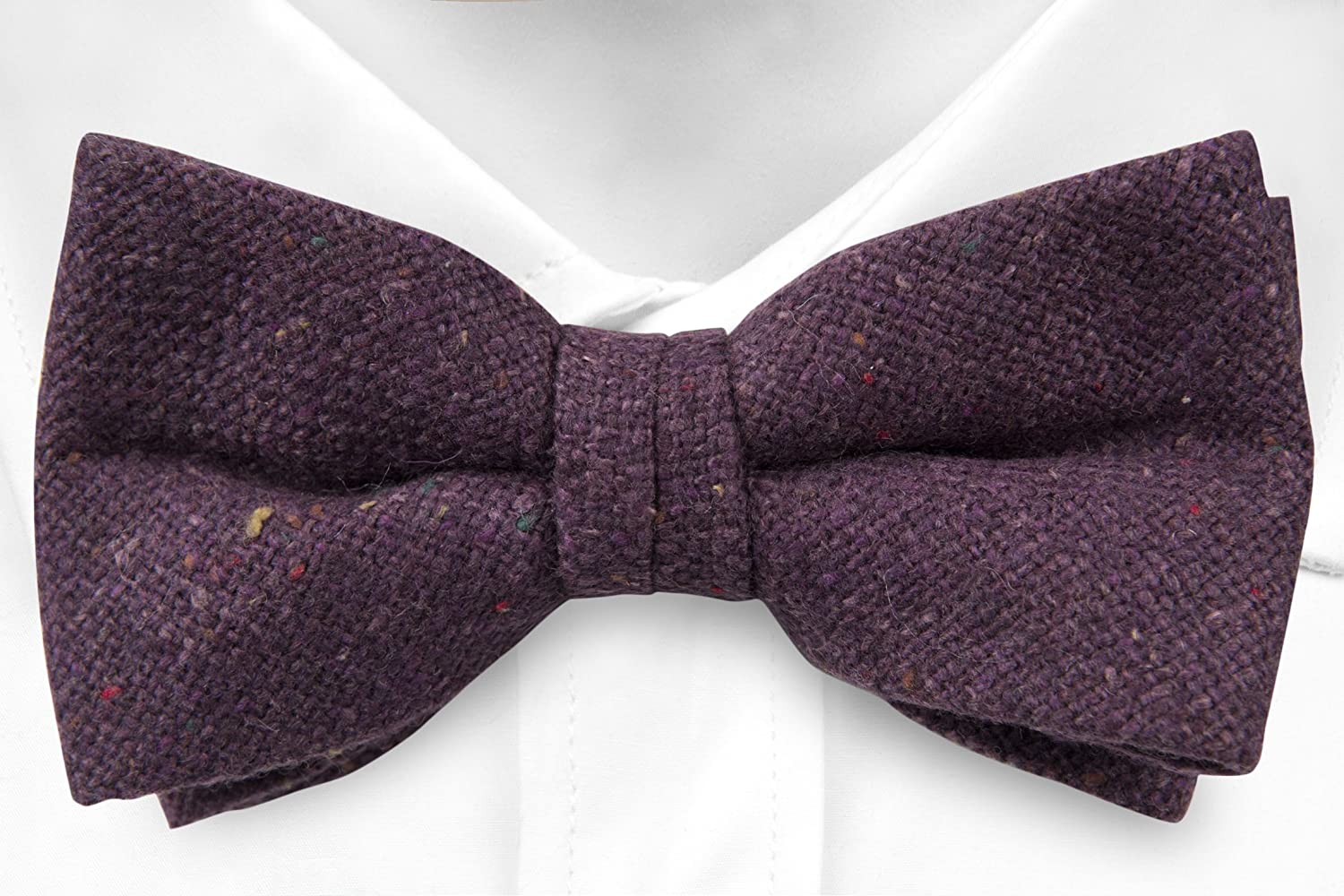 Pre tied bow tie - Solid grey with red, yellow and orange specks Notch