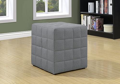 Monarch Specialties Ottoman – Cube Chair – Modern Tufted Cube Ottoman, Linen Light Grey
