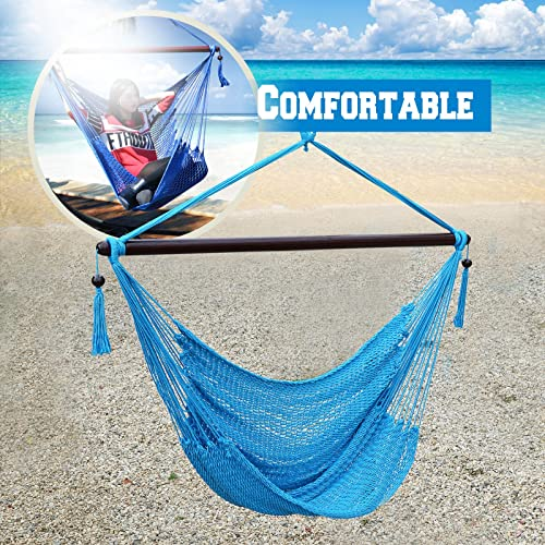 Hanging Caribbean Polyester Hammock Chair 48 Inch Light Blue