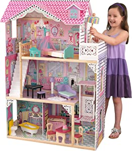 KidKraft 65934 Annabelle Wooden Dolls House with Furniture and Accessories Included, 3 Storey Play Set for 30 cm/12 Inch Dolls