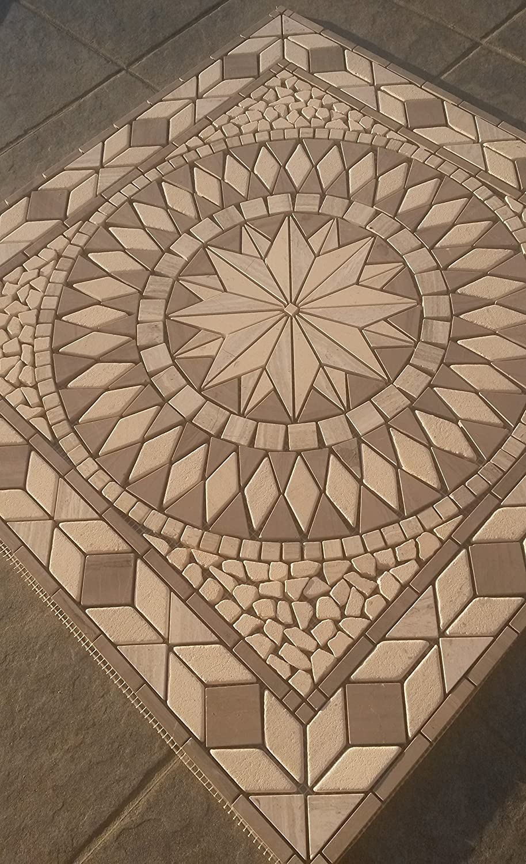 Rosace Mosaique en carrelage 60x60 cm x 8 mm rose des vents Emperador Dark