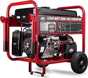 All Power America APGG12000GLC 12000 Watt Dual Fuel Portable Generator with Electric Start 12000W Gas/Propane, C.A.R.B Compliant, Black/Red