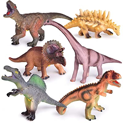 6 PCs Dinosaur Toys with Roar Sounds, 9 to 12 Inches Large Soft Rubber Toy Dinosaurs for Kids: Toys & Games