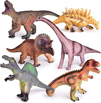 LOT OF 6 NEW DINOSAURS TOYS DINO KIDS ANIMAL FIGURE PLAY SET 34 PCS EDUCATIONAL